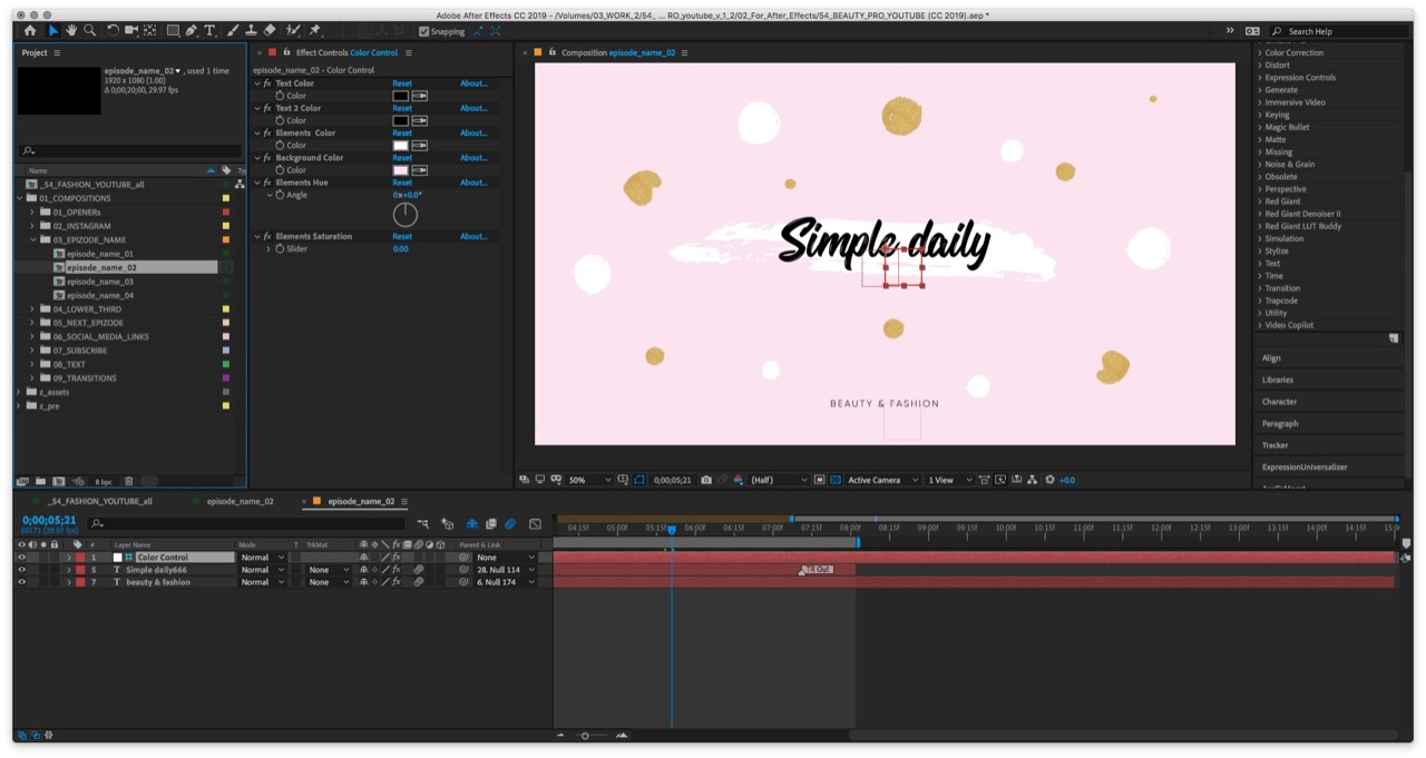 EasyEdit pro | Beauty Pro - Youtube Pack for After Effects- Catalog