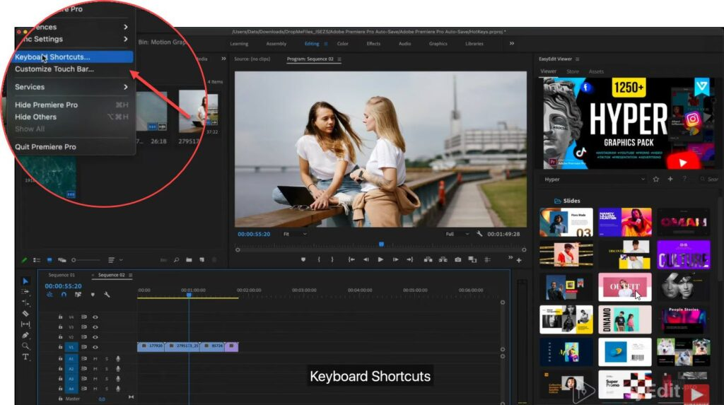 Find the settings in premiere pro